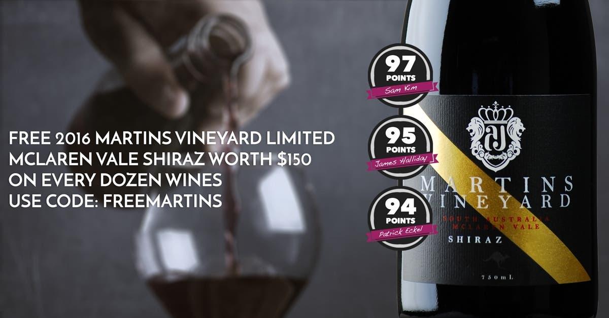 A FREE Martins Vineyard Limited McLaren Vale Shiraz 2016 for every Dozen!