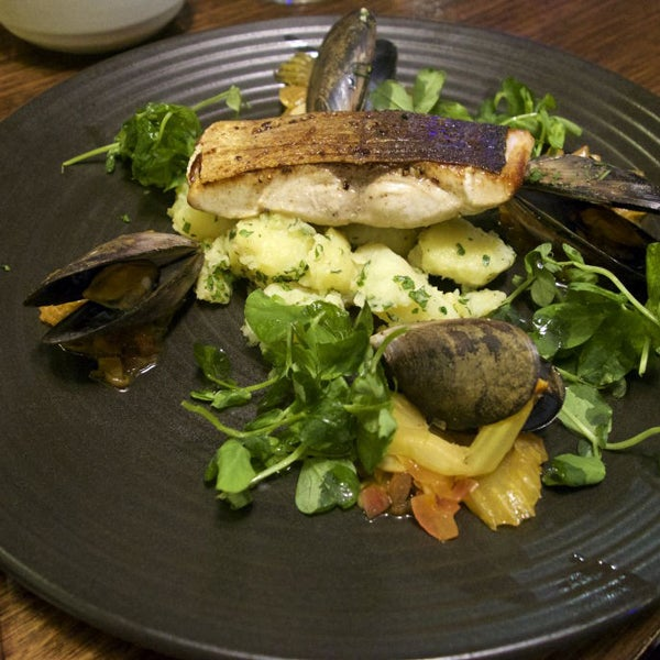 Sugar-Cured Kingfish with Mussel Vinaigrette