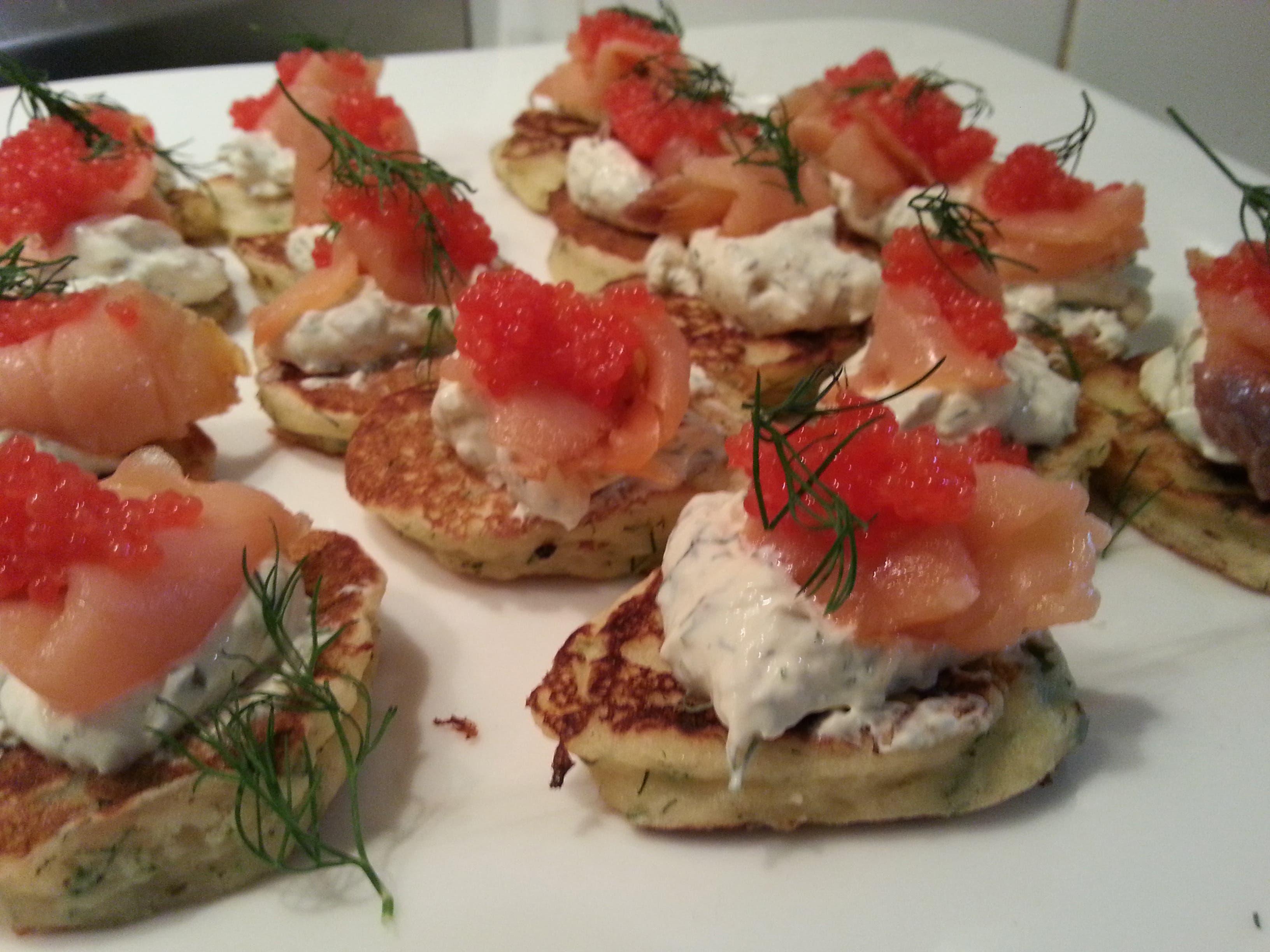 Dill Blini with Caper Crème Fraiche and Smoked Salmon