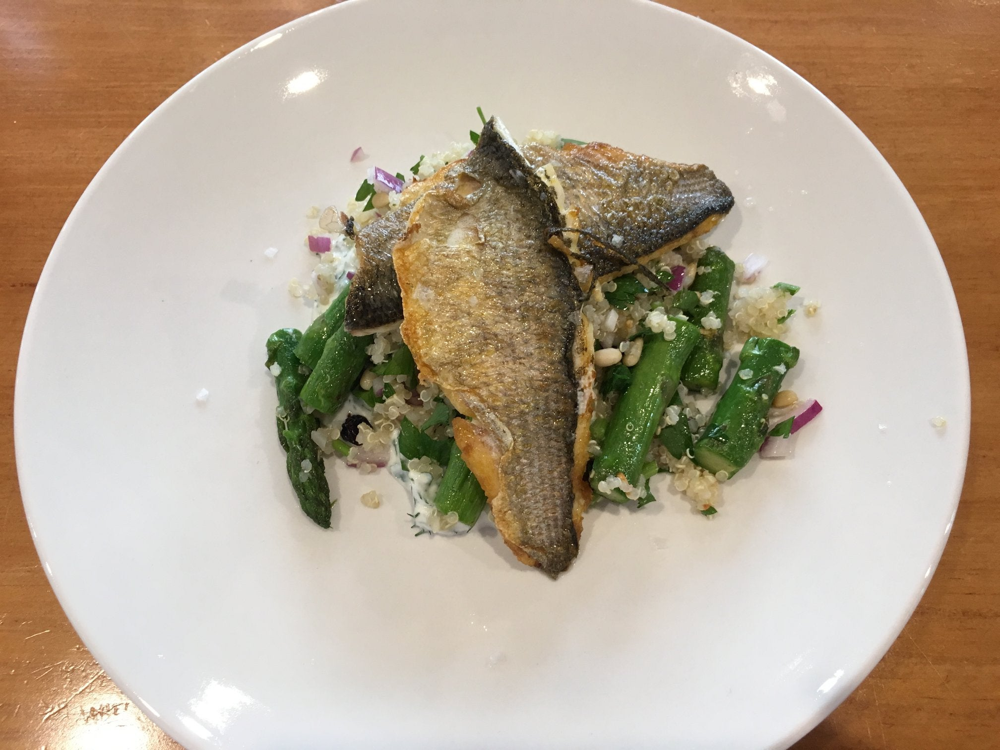 Sprout Cooking Class - White fish with asparagus tabouli & herbed yoghurt